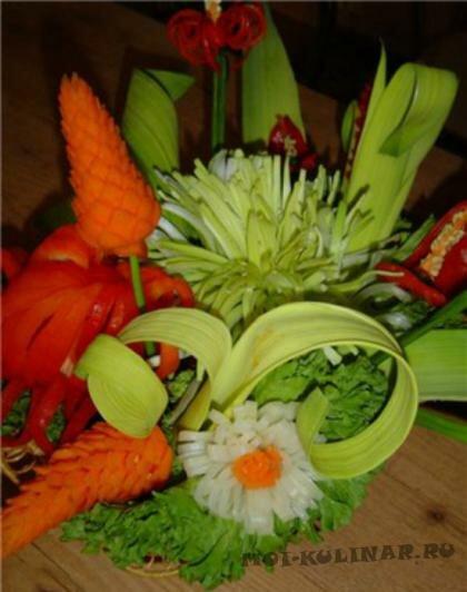 Пошаговый фото рецепт Цветок из лука-порея