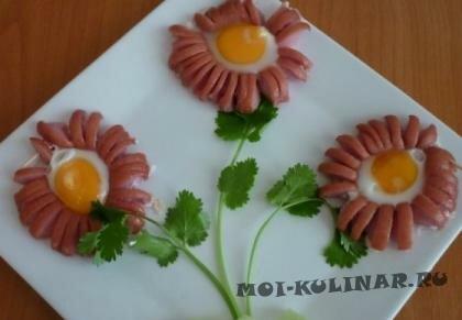 Пошаговый фото рецепт Ромашка из сосиски и яйца