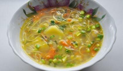 Пошаговый фото рецепт Куриный суп с вермишелью и картошкой