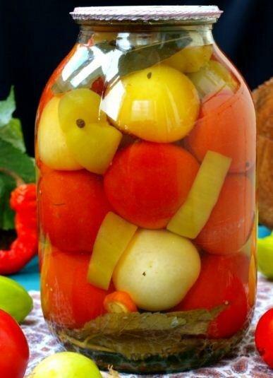 Маринованные помидоры с физалисом и болгарским перцем