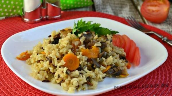 Тайский нешлифованный рис с грибами в мультиварке